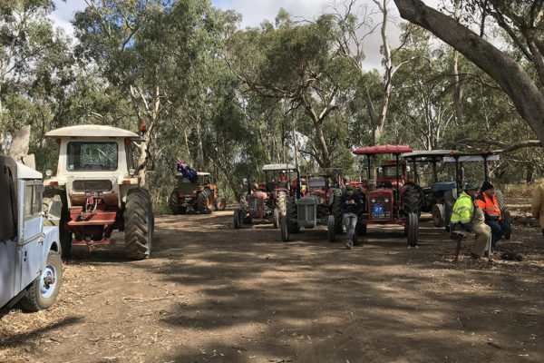 Parking of some of the tractors at morning tea.